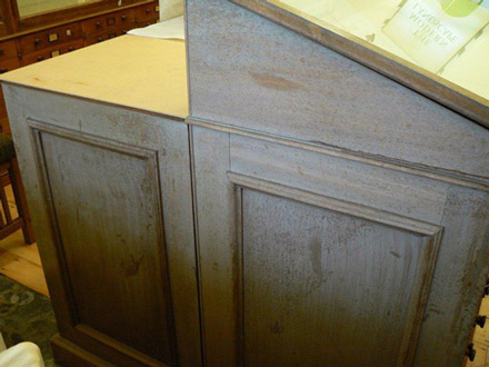 UV damaged shellac finish to cabinets in the sedgewick museum pre treatment