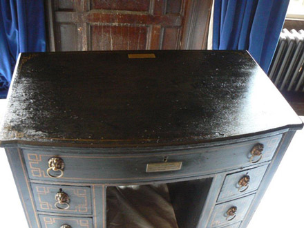 Byrons desk, Newstead abbey after treatment following water damage