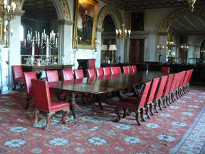 The state dining room furniture by Gillows of Lancaster, Belvoir Castle